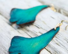 Ginko leaf turquoise leather earrings - Hand painted