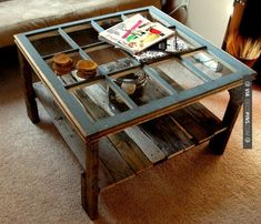 Wow - Old window  pallet coffee table...we'd probably put a thick piece of glass over the whole thing for easy cleaning and to make an even tabletop, but what a fun idea! | CHECK OUT MORE PALETTE FURNITURE IDEAS AT DECOPINS.COM | #palettefurniture #masterbedroom #bedroom #bedrooms #homedecor #beds #interiordesign #home #homedecoration #design