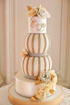 Golden #wedding cake