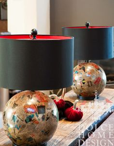 eclectic living room by Dolce Home & Design; modge-podge old maps to traditional lamp base.