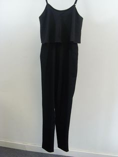 818d7b19eb5 Missguided Clarice Strappy Frilled Jumpsuit Black Ladies UK Size 8 Box41 43  H  fashion