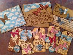 Tags and card ideas with die cut embossed acrylic and corrugated cardboard butterflies!!