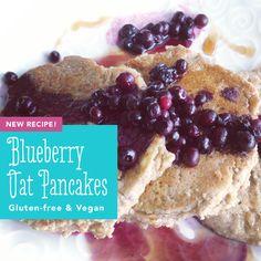 Gluten-free Vegan Blueberry Oat Pancakes