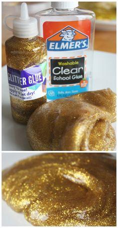 Gold Slime Recipe Supplies Glitter Glue Slime