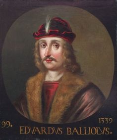 This painting shows the head and shoulders of Edward Balliol. It is depicted within a painted oval with the head facing one quarter to the left. The artist has depicted the monarch wearing a brown fur-trimmed jacket, and a dark red cap with a central white feather. He is also shown with a moustache and shoulder-length hair. This portrait is one of ninety-three bust-lengths commissioned to decorate the Great Gallery at Holyroodhouse, Edinburgh. It is painted by Jacob de Wet II. Your share…