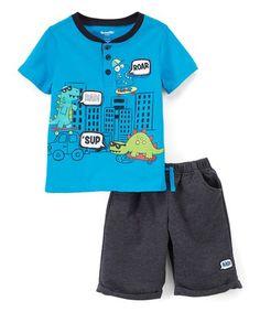 Loving this Blue Dinosaur Henley & Shorts - Infant & Toddler on #zulily! #zulilyfinds