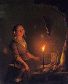 """A Cook Preparing Game In Candlelight,"" Petrus van Schendel"