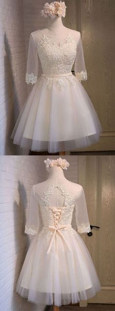 UHC0054, Glamorous, A-line, Scoop, Above-knee, Ivory Organza, Half Sleeves, With Appliques, homecoming dresses