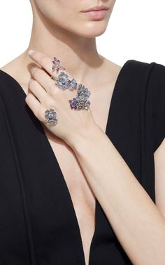 The Bedspread Florals Edit! Forget-Me-Not Hand Ring by Morphée Joaillerie