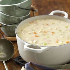 Cheesy Chicken Chowder.  I made this the other night- so yummy!!!  It's basicly Cheesy potato soup with chicken.