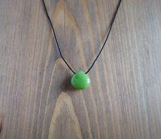 Green jadeite choker necklace, black silk cord stone choker, minimal floating heart jade necklace, yoga gemstone drop modern bead choker