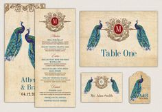 Items similar to An Elegant Peacock Ensemble - Menu Cards, Table Cards and Escort Cards for Weddings, Showers and Parties on Etsy Menu Cards, Table Cards, Menu Printing, Communion Invitations, Indian Wedding Invitations, Invitation Set, Favor Tags, Stationery, Showers