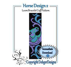 Bead Pattern Loom(Bracelet Cuff)-Horse Design 2