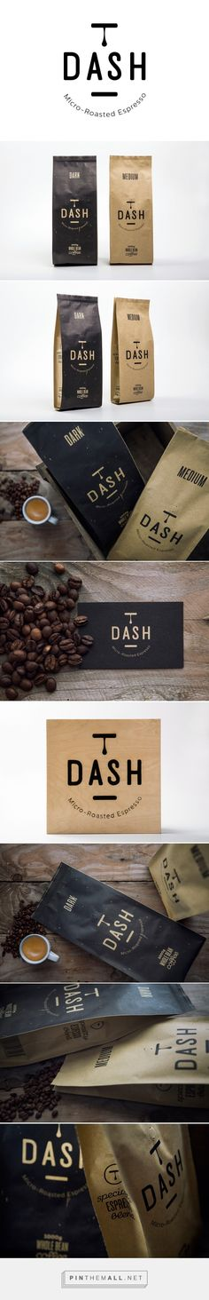 Dash Espresso packaging designed by S & Team (Greece) Coffee Packaging, Coffee Branding, Brand Packaging, Packaging Design, Coffee Label, Coffee Logo, Coffee Shop, Identity Design, Brand Identity
