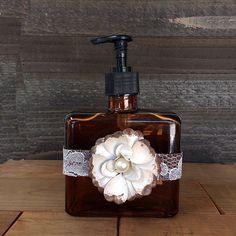 Soap Dispenser, Lotion Dispensers, Home Decor, Decorative Home Decor, Bathroom Glass Bottles, Decorative Bottles, Cross Bottle by Stylishvintagedesign on Etsy