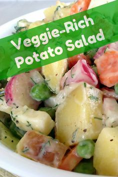 This potato salad recipe helps you use up fresh produce languishing in your refrigerator, save money, and reduce food waste. (Recipe at bottom of page).
