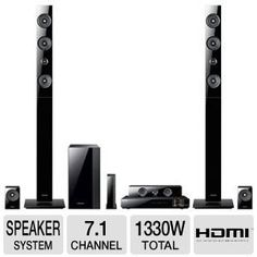 Samsung 7.1 Channel 3D Blu-ray Home Theater System, Full HD 1080p Resolution, 1330 Watts Total Power, 2 Tower Speakers With Swivel Driver/ Woven Glass-Fiber Speakers, Vacuum-Tube And Digital Amp Technology, Smart Hub, Web Browser, Disc To Digital Streaming Service, Built-In Wi-Fi, 3D Sound Plus, Wireless Rear Speakers, Vertical Surround Sound, Black Finish by Samsung. $829.95. The Samsung 7.1 Ch Blu-ray Home Entertainment System features a powerful 1330 Watt speaker system ...