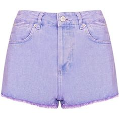 TOPSHOP MOTO Lilac Raw Hem Hotpant ($24) ❤ liked on Polyvore featuring shorts, bottoms, purple, topshop, lilac, hot pants, purple hot pants, micro shorts and short shorts