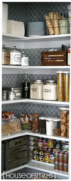 Organization tips for a Kitchen pantry makeover. Jars and containers for the pantry space. house of smiths pantry. Like the wallpaper/contact paper on the back wall. Kitchen Pantry, Kitchen Storage, New Kitchen, Kitchen Decor, Pantry Shelving, Kitchen Design, Pantry Design, Pantry Storage, Pantry Closet
