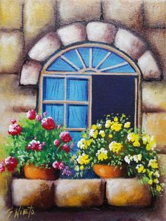 pictures-balconies-facades – Marisa – Join in the world of pin Pastel Artwork, Oil Pastel Paintings, Simple Acrylic Paintings, Easy Paintings, Easy Canvas Painting, Spring Painting, Canvas Art, Landscape Art, Landscape Paintings