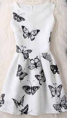 Butterfly Print Sleeveless Mini Dress