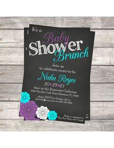 Printable Chalkboard Baby boy Shower brunch invitation- gray blue and teal, digital PDF and JPEG file Baby Shower Brunch, Baby Shower Fun, Baby Shower Themes, Baby Shower Decorations, Baby Showers, Shower Ideas, Brunch Invitations, Printable Invitations, Baby Shower Invitations