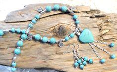 NECKLACE & EARRINGS  Beaded Jewelry Set Blue by LKArtChic on Etsy