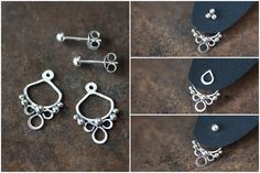 Handmade silver ear jacket earrings front and back earring
