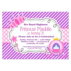 Princess Invitation  Purple Stripes and Pink by PurpleBerryInk, $15.00