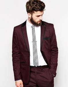 Guide Burgundy Suit Jacket With Contrast Lapel In Slim Fit