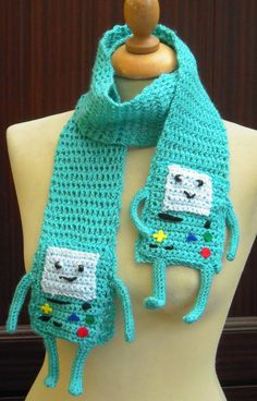 Crochet Beemo from Adventure Time Scarf  Ready by twixtseaandpine, $27.00 #crochet #knit #crafts #Winter #cartoon #scarf #blue