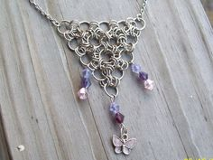 Butterfly Chainmaille Necklace Beaded with Purple by Sapphire107 #craftshout0319 #chainmaille