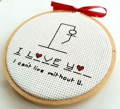 I LOVE YOU Hangman Ornament Funny Valentine Gift by hoopsandhooks, $15.50