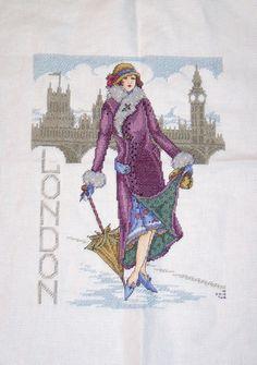 Joan Elliot's London Lady as seen in Cross Stitch Gold magazine