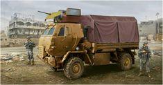M1078 LMTV con cabina blindada, al parecer en Irak. Vincent Wai. Pertenece a la FMTV (Familia de vehículos tácticos medianos) de un solo chasis basado en el camion austriaco Steyr 12M18. Más en www.elgrancapitan.org/foro
