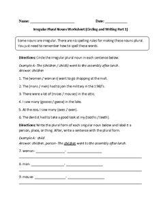 Circling and Writing Irregular Plural Noun Worksheet