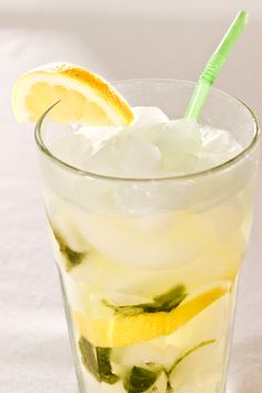 Vodka would be great with this. Refreshing Basil Lemonade - Click for Recipe