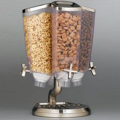 This cereal dispenser is a top quality food bin for the hotel and restaurant industry. Made from upscale stainless steel and durable ABS plastic, the cereal dispenser rotates for easy access. Kitchen Supplies, Kitchen Items, Kitchen Utensils, Kitchen Tools, Kitchen Dining, Kitchen Decor, Kitchen Appliances, Family Kitchen, Cool Kitchen Gadgets