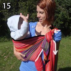Rebozo, krok 15: Keď už dieťa sedí, môžete si dotiahnuť šatku. Šípky označujú lemy, prislúchajúci pás a smer doťahovania.