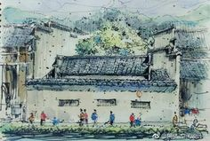 It's must be Hongcun. via TW by Travel China Art, Paris Skyline, Travel, Painting, Viajes, Painting Art, Destinations, Paintings, Traveling