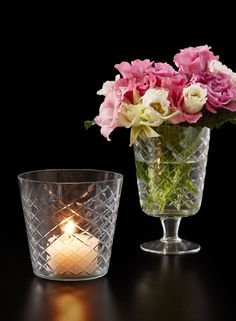 For a different look, we added our 2-inch pillar candle to this Diamond Cut Pedestal Vase, but blooms are always lovely in it. The Diamond Cut Glass Pedestal Vase is shown here with creamy and light pink