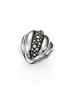 David Yurman - Diamond & Sterling Silver Cabled Ring