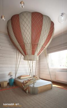 Air Baloon bed | Dreamy bedroom for a girl or a boy | See more: kidsbedroomideas.eu #airballoonbed #kidsbedroomideas