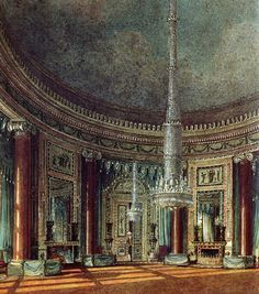 RR21.32 'Sir William was all agog and Elizabeth could not imagine him to have been more in awe if he had found himself at Carlton House' This pic - Carlton House, London, another of the Prince Regent's enormously expensive custom-built residences.