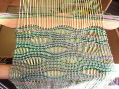 I am just fooling around with my new wavy shuttle. Not sure what to do or how to use it, but it has been nice seeing the lines shifting here and there… until an accidental placement of lines sudde. Loom Weaving, Tapestry Weaving, Weaving Patterns, Weaving Techniques, Bye Bye, Ravelry, Sewing, Crochet, Creative