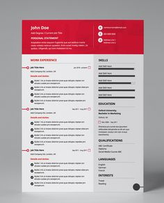 Get only the best resume templates! Bold, single page, red & white PDF resume template. Very easy to edit so you can update your own CV. Resume Pdf, Modern Resume Template, Creative Resume Templates, Cv Template, Resume Design, Cv Design, Web Developer Resume, Administrative Assistant Resume, Free Resume Examples