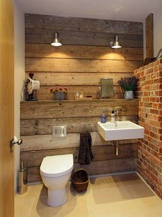 Rustic furniture: 50 examples of modern country-style bathroom furniture rustic bathroom with decorative brick wall - Furniture Ideas Rustic Bathroom Designs, Rustic Bathrooms, Modern Bathroom, Small Bathroom, Bathroom Ideas, Bathroom Vanities, Masculine Bathroom, Neutral Bathroom, Ikea Bathroom