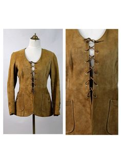 1970s suede leather Corset lace Jacket small by lesclodettes