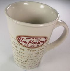 2009 TIM HORTON'S COFFEE CUP MUG, LIMITED EDITION    I have this cup!!