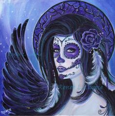 ORIGINAL Day of the dead  painting 12 x 12 acrylic  By Renee L. Lavoie by TheArtOfReneeLLavoie on Etsy